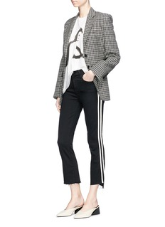 MOTHER 'Insider' contrast outseam cropped jeans