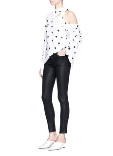 J Brand '620' coated skinny denim pants