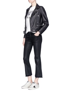 J Brand 'Selena' coated raw cropped flared jeans