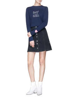 J Brand x Bella Freud 'Nashville' button front denim skirt