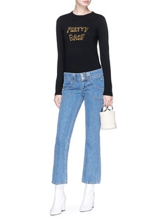 J Brand x Bella Freud 'Pretty Baby' slogan intarsia wool blend sweater