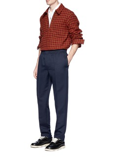 Marni Half zip wool houndstooth top