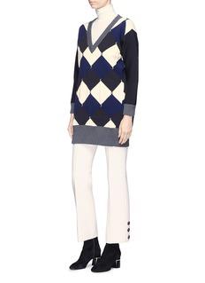 Sonia Rykiel Argyle oversized mixed knit sweater