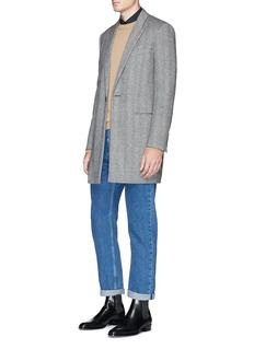 Dries Van Noten Grosgrain placket trim colourblock poplin shirt
