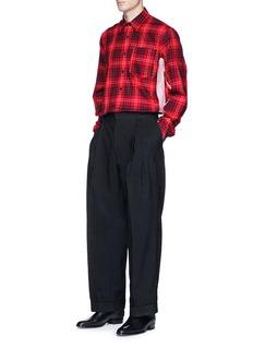 Dries Van Noten Stripe outseam tartan plaid twill shirt
