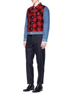 Dries Van Noten Check plaid wool patchwork denim jacket