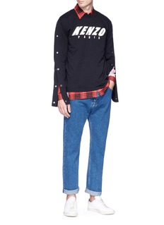 KENZO Logo print snap button sleeve sweatshirt