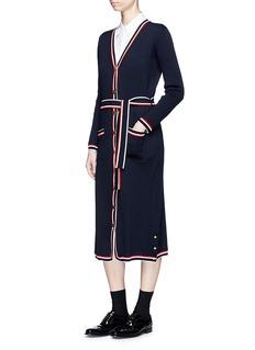 Thom Browne Stripe trim wool cardigan dress