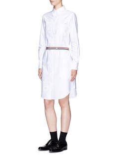 Thom Browne Stripe belt cotton Oxford shirt dress