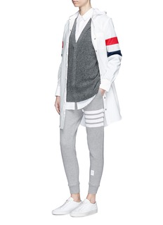 Thom Browne Stripe sleeve hooded coat