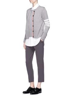 Thom Browne Stripe sleeve layered vest wool blend cardigan