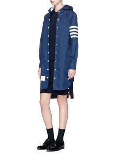 Thom Browne Stripe sleeve detachable hood coat