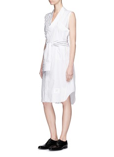 Thom Browne Sleeve tie variegated stripe shirt dress