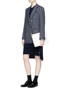 Thom Browne Mock sleeve waist knit polo dress