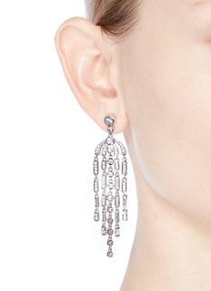 CZ by Kenneth Jay Lane'Deco' cubic zirconia pear chandelier earrings