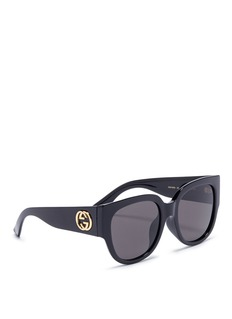 Gucci Interlocking logo temple oversized acetate round sunglasses