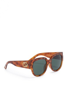 Gucci Interlocking logo temple tortoiseshell acetate round sunglasses