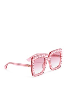 Gucci Jewelled oversized square acetate sunglasses