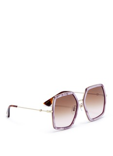 Gucci Pearlescent front angular square metal sunglasses