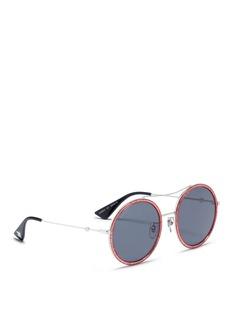 Gucci Glitter acetate rim metal round sunglasses