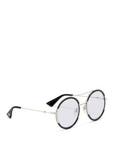 GUCCI 拼色金属飞行员太阳眼镜