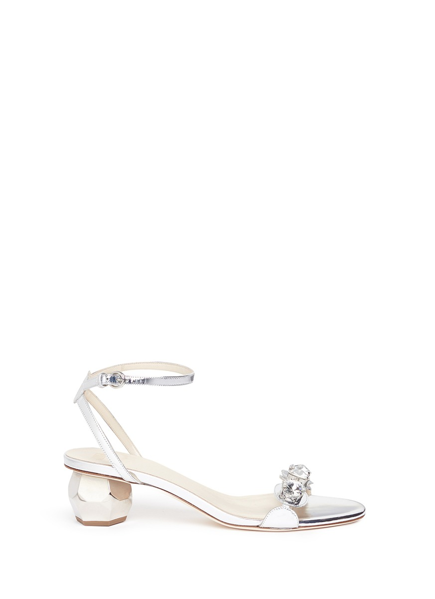 FRANCES VALENTINE 'Beatrix' strass scalloped band leather sandals