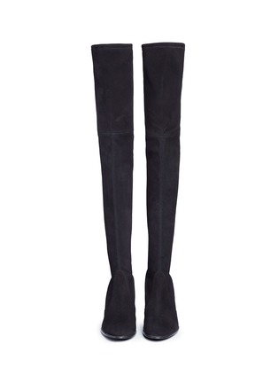 Front View - Click To Enlarge - Stuart Weitzman - 'Hiline' stretch suede thigh high boots