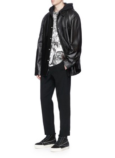 Alexander Wang  French terry hood lambskin leather jacket