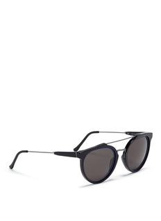 SUPER 'Giaguaro Impero Blu' metal bridge round acetate sunglasses
