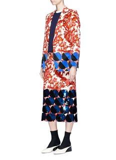 Dries Van Noten 'Blest' geometric floral print velveteen blazer