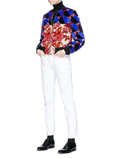 Dries Van Noten 'Villa' geometric floral print cropped velvet bomber jacket