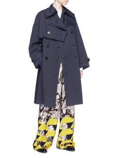 Dries Van Noten Geometric watercolour floral print crepe wide leg pants