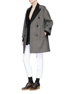 Dries Van Noten 'Rimic' 2-in-1 check plaid wool melton coat
