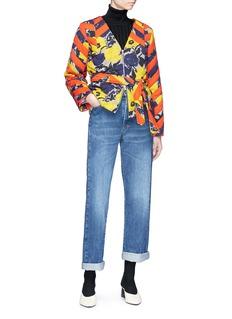 Dries Van Noten 'Volosa' belted stripe floral print wool blend jacket