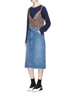 Dries Van Noten 'Silvan' frayed denim skirt