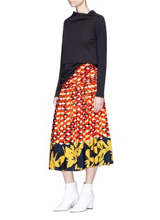 Dries Van Noten 'Sheen' geometric floral print pleated silk skirt