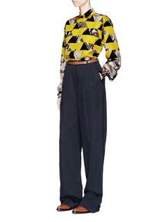 Dries Van Noten 'Cristel' watercolour geometric print cotton poplin shirt