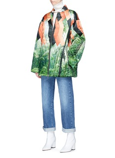 Dries Van Noten 'Voltes' geometric leaf print satin jacket
