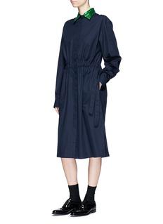 Dries Van Noten 'Dualy' sequin collar poplin shirt dress