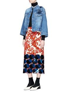 Dries Van Noten 'Visti' 3D flower kimono sleeve cropped denim jacket