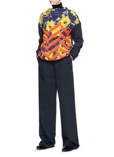Dries Van Noten 'Hivner' stripe floral print quilted panel sweatshirt