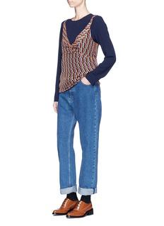 Dries Van Noten 'Capri' zigzag stripe camisole overlay cady crepe top