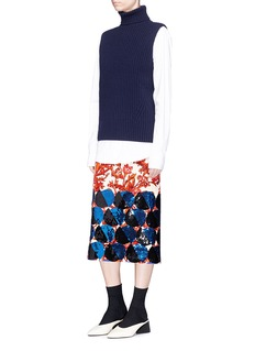 Dries Van Noten 'Shine' sequin circle floral print velveteen skirt