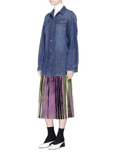 Dries Van Noten 'Soyo' pleated lamé midi skirt