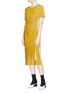 Dries Van Noten 'Donen' ruched velvet T-shirt dress