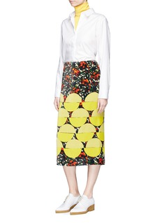 Dries Van Noten 'Shine' geometric floral print velvet pencil skirt