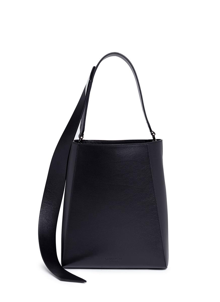 Sculptural leather bucket bag