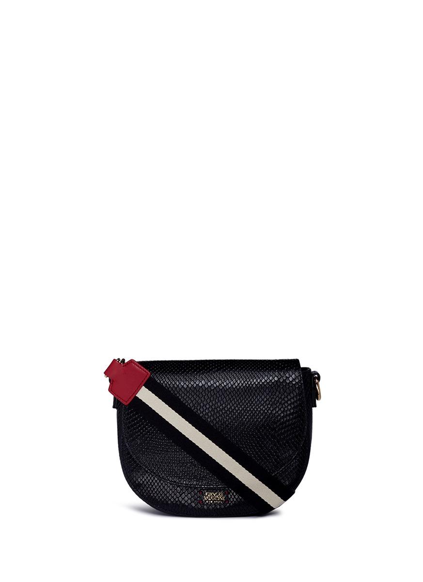 FRANCES VALENTINE 'Ellen' mini snake embossed leather saddle bag