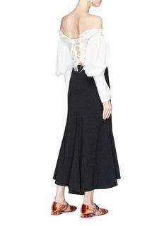 JH.ZANE Belle系带设计灯笼袖露肩上衣