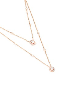 Messika 'My Twin 2 Rows' diamond 18k rose gold tiered necklace